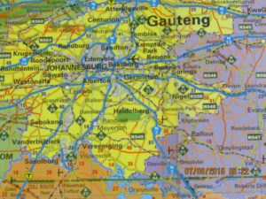 Mapa de la zona industrializado de Johannesburgo, Sudáfrica - Laurik International